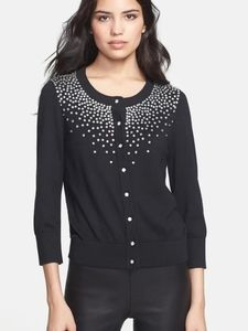 Charter Club Sequin/Beaded Button-up Cardigan